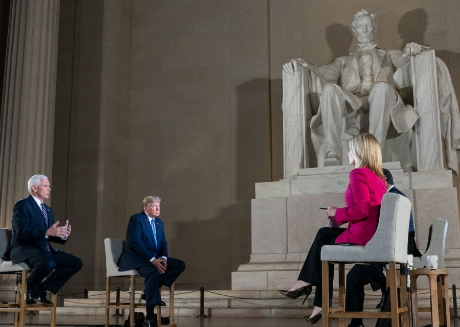 United States Vice President Mike Pence, left, with President Donald Trump at a televised town hall meeting held on Sunday, May 3, 2020, at the Lincoln Memorial in Washington. (Photo: White House/IANS). by .