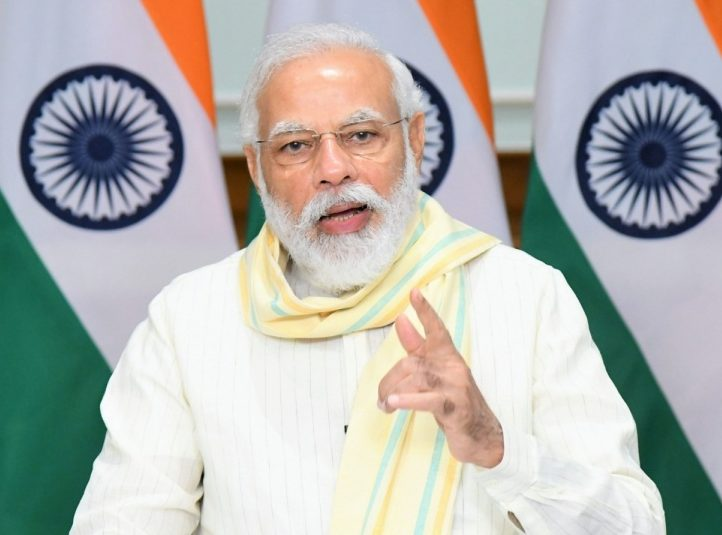 New Delhi: Prime Minister Narendra Modi addresses at the launch of PM Garib Kalyan Rojgar Abhiyaan through video conferencing, in New Delhi on June 20, 2020. (Photo: IANS/PIB) by .