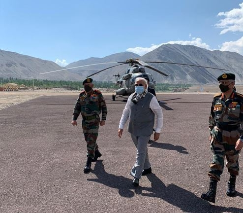 Prime Minister Narendra Modi reaches Leh along with Chief of Defence Staff (CDS) Bipin Rawat on July 3, 2020. (Photo: IANS/DPRO) by .
