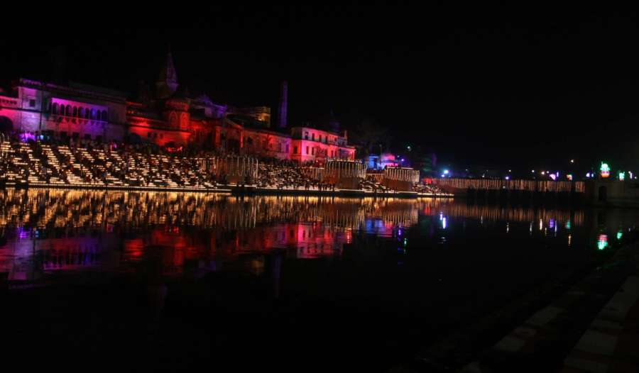 Ayodhya: A view of banks of the Saryu river during 'Deepotsav' celebration hosted by the Tourism Department of the Uttar Pradesh government in Ayodhya, on Oct 18, 2017. (Photo: IANS) by .