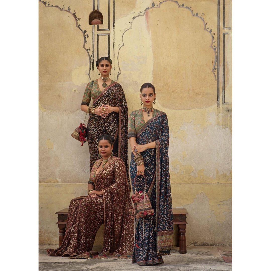 Sabyasachi Mukherjee uses Bandhani in his Fall Winter 2019 collection. by .