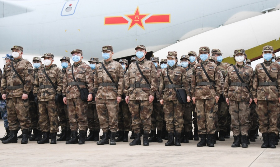 WUHAN, Feb. 2, 2020 (Xinhua) -- Military medical staff airlifted by eight large transport planes of the air force of the People's Liberation Army (PLA) arrive at Tianhe International Airport in Wuhan, central China's Hubei Province, Feb. 2, 2020. (Xinhua/Cheng Min/IANS) by .