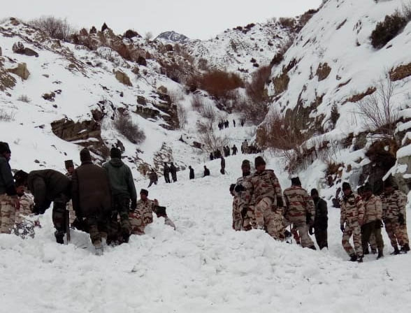Kinnaur: A snow avalanche killed a soldier while five other soldiers went missing near the Tibet border in Himachal Pradesh's Kinnaur district on Feb 20, 2019. Five Indo-Tibetan Border Force (ITBP) troopers were also injured in the disaster that occurred at around 11 a.m. The avalanche was triggered when the glacier near Namgia Dogri bordering Tibet slid, burying six soldiers of the Jammu and Kashmir Rifles when 16 soldiers were on routine patrol. (Photo: IANS) by .