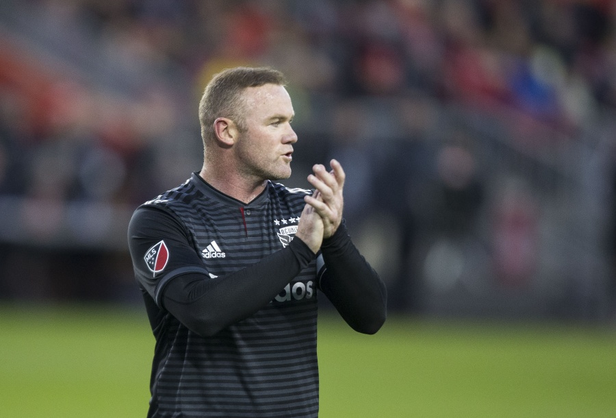 TORONTO, Oct. 20, 2019 (Xinhua) -- Wayne Rooney of D.C. United reacts during the first round match of the 2019 Major League Soccer (MLS) Cup Playoffs between D.C. United and Toronto FC at BMO Field in Toronto, Canada, Oct. 19, 2019. (Photo by Zou Zheng/Xinhua/IANS) by .