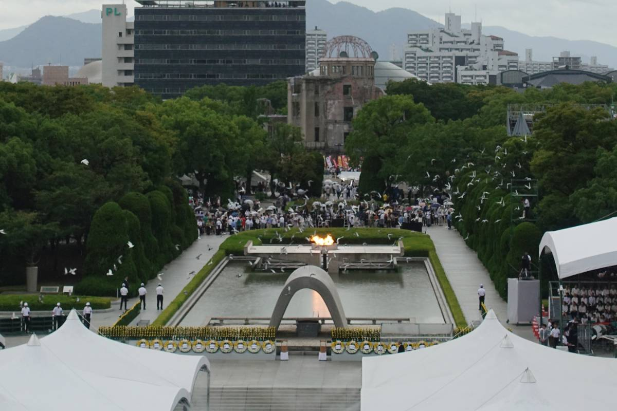 HIROSHIMA, Aug. 6, 2019 (Xinhua) -- People attend an annual memorial ceremony in Hiroshima, Japan, Aug. 6, 2019. Hiroshima, a Japanese city hit by a U.S. atomic bomb at the end of World War II, marked the 74th anniversary of the bombing on Tuesday. (Xinhua/Peng Chun/IANS) by .