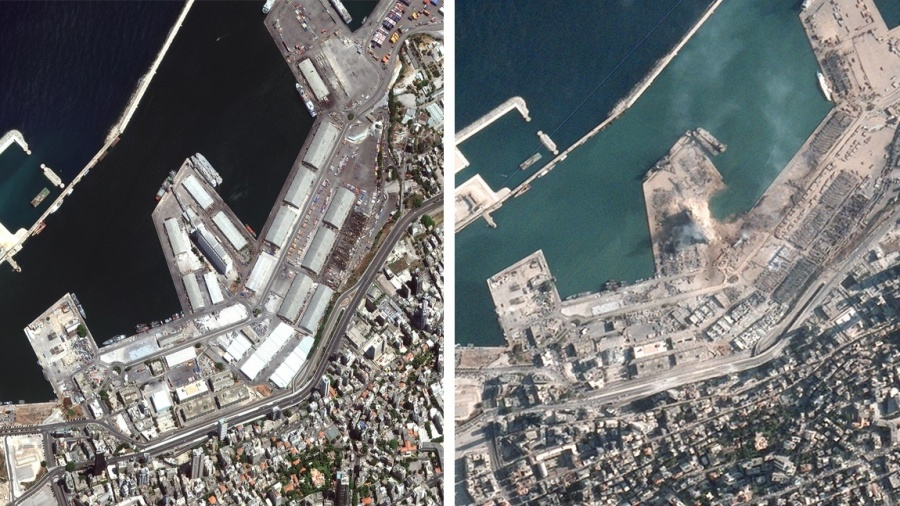 Satellite images show scale of destruction after Beirut explosions. by .