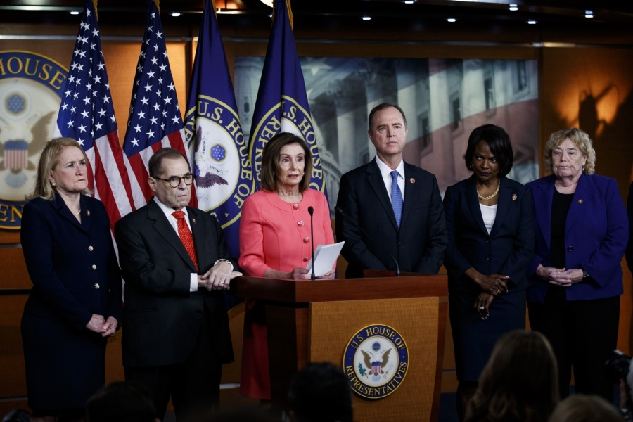 WASHINGTON, Jan. 15, 2020 (Xinhua) -- U.S. House Speaker Nancy Pelosi (3rd L) speaks during a press conference in Washington D.C., the United States, on Jan. 15, 2020. The U.S. House of Representatives officially sent impeachment articles against President Donald Trump to the Senate on Wednesday evening to allow a trial to get underway. (Photo by Ting Shen/Xinhua/IANS) by .