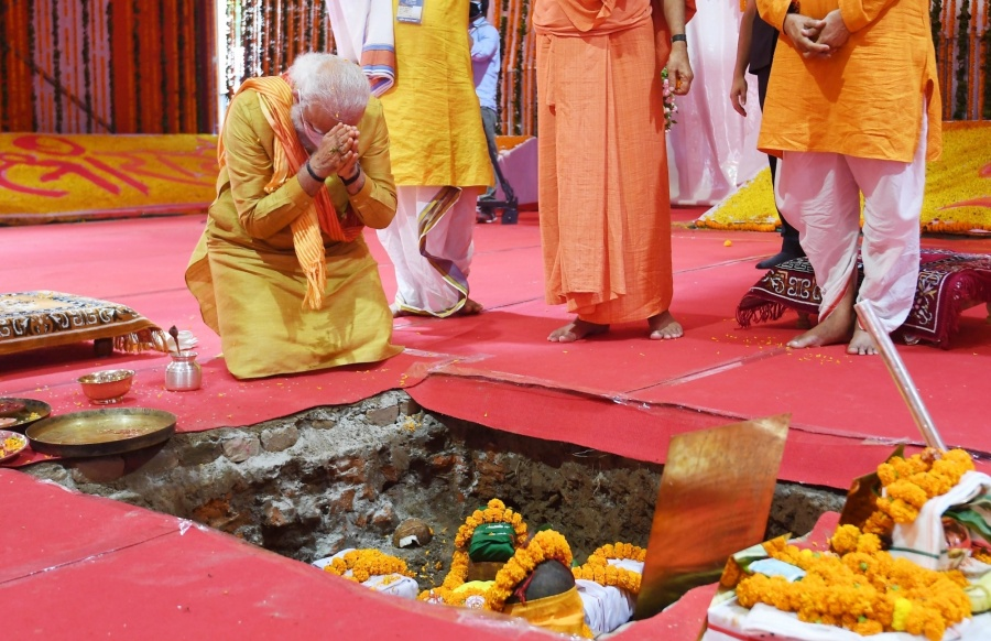 """Ayodhya: Prime Minister Narendra Modi performs """"bhumi pujan"""" at the Ram Janmabhoomi site in Ayodhya on Aug 5, 2020. (Photo: IANS) by ."""