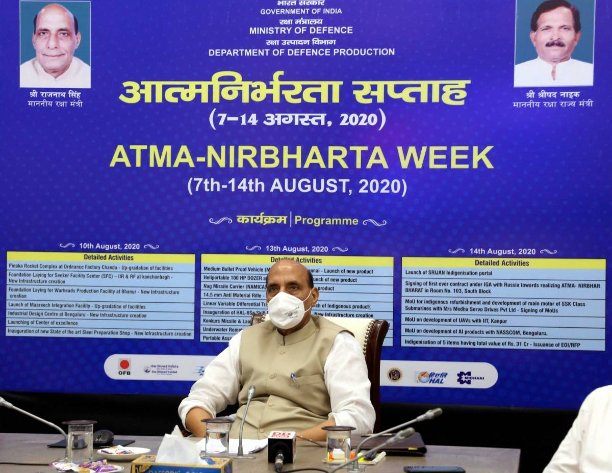 New Delhi: Defence Minister Rajnath Singh launches the modernisation/up-gradation of facilities and new infrastructure creation of Defence Public Sector Undertakings & Ordnance Factory Board as part of 'Atmanirbharta Week' celebrations, in New Delhi on Aug 10, 2020. (Photo: IANS/PIB) by .