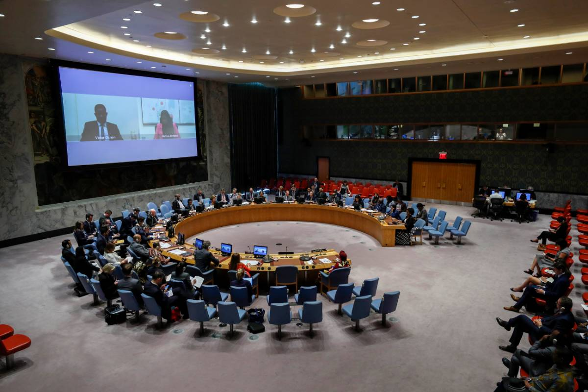 UNITED NATIONS, Oct. 2, 2019 (Xinhua) -- Photo taken on Oct. 2, 2019 shows a UN Security Council meeting on peace and security in Africa at the UN headquarters in New York. Mobilizing youth and silencing the guns in Africa is not a choice but an absolute necessity, a senior UN official said on Wednesday. (Xinhua/Li Muzi/IANS) by .