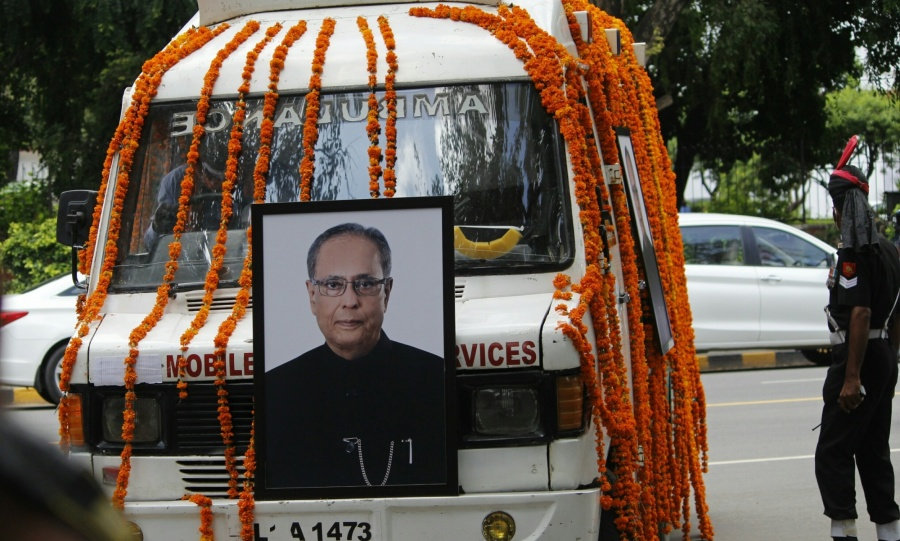 New Delhi: An ambulance leaves for the Lodhi Road Crematorium with the mortal remains of Former President Pranab Mukherjee from his 10 Rajaji Marg residence ahead of his funeral in New Delhi on Sep 1, 2020. Mukherjee passed away on Monday evening at Army's Research and Referral Hospital in New Delhi. He was 84. (Photo: IANS) by .