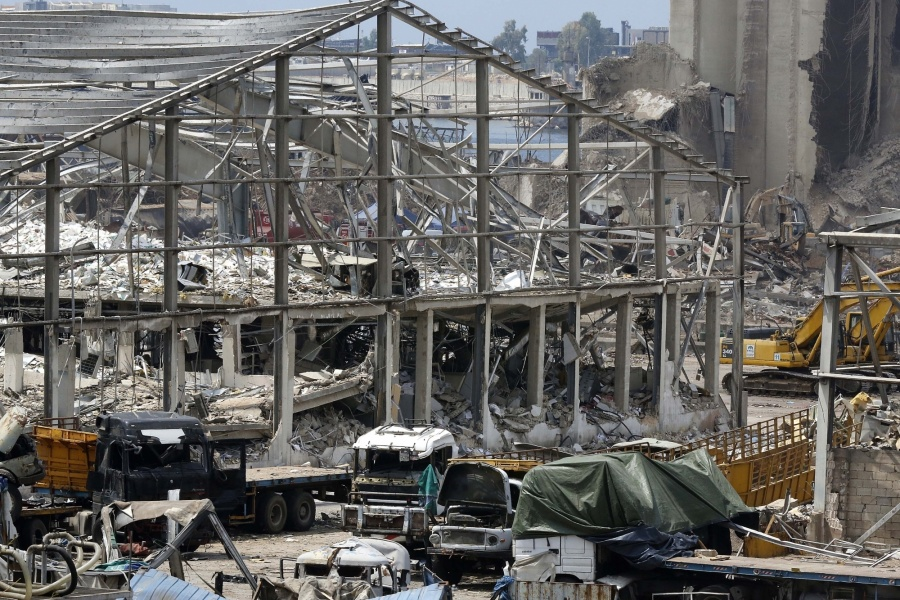 Beirut, Aug. 14, 2020 (Xinhua) -- Photo taken on Aug. 14, 2020 shows damages at the Port of Beirut in Lebanon. Two explosions rocked Beirut on Aug. 4, killing 177 people and wounding at least 6,000. (Xinhua/Bilal Jawich/IANS) by .
