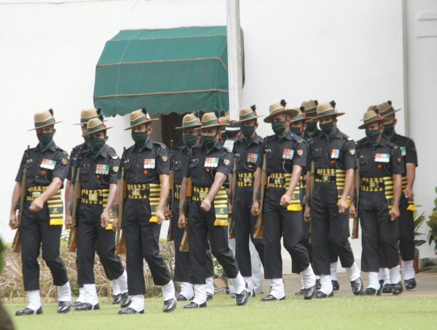 New Delhi: Military band at Former President Pranab Mukherjee's 10 Rajaji Marg residence in New Delhi on Sep 1, 2020. Mukherjee passed away on Monday evening at Army's Research and Referral Hospital in New Delhi. He was 84. (Photo: IANS) by .