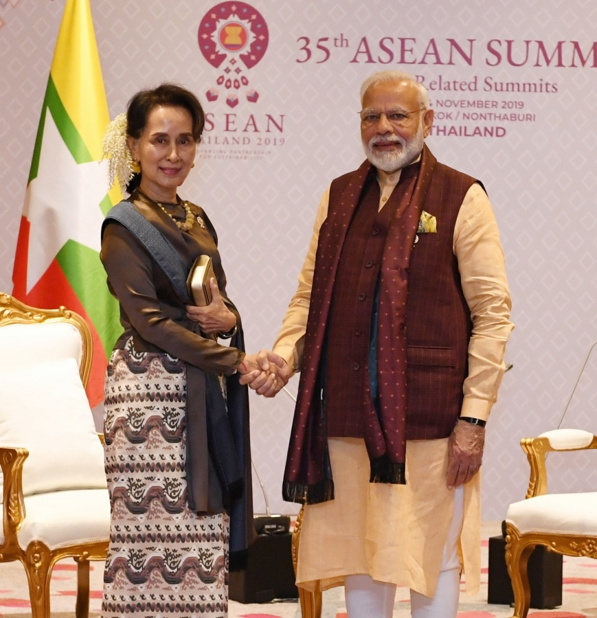 Bangkok: Prime Minister Narendra Modi meets the State Counsellor of Myanmar Aung San Suu Kyi on the sidelines of the 16th India-ASEAN Summit in Bangkok, Thailand on Nov 3, 2019. (Photo: IANS/PIB) by .